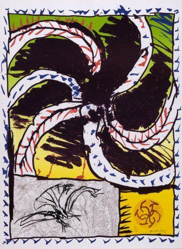 """Pierre #Alechinsky """"Prédateur"""", 1981. Litografía y Aguafuerte sobre Piedra y Cobre de 82,5x61 cm., Papel Arches de 250 gr. de medidas 82,5x61 cm. Ej.: 120 #art #lithograph  #etching"""
