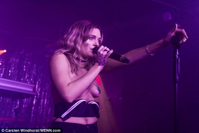 Tove Lo, 29, certainly made a statement during a special album launch performance in East London, on Tuesday night, performing topless with glittering cannabis leaves covering her chest.
