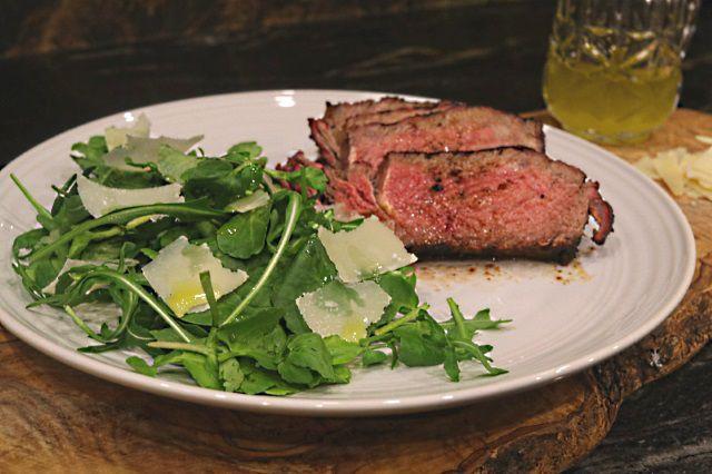 Beef tagliata using reverse seared rib-eye steak