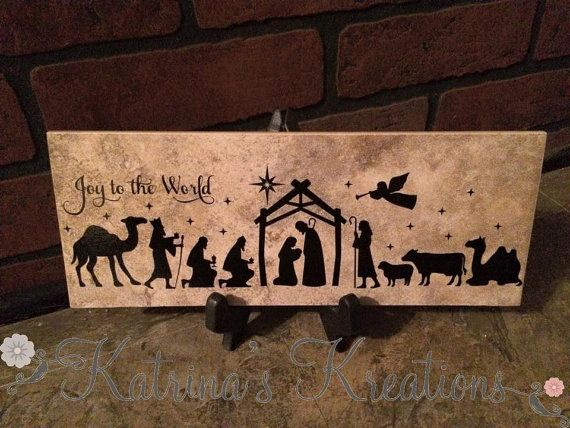 Nativity Tile Ceramic Tile is 4 x 12 inches Decorated with strong, durable vinyl. I suggest black for the lettering, but please message me if