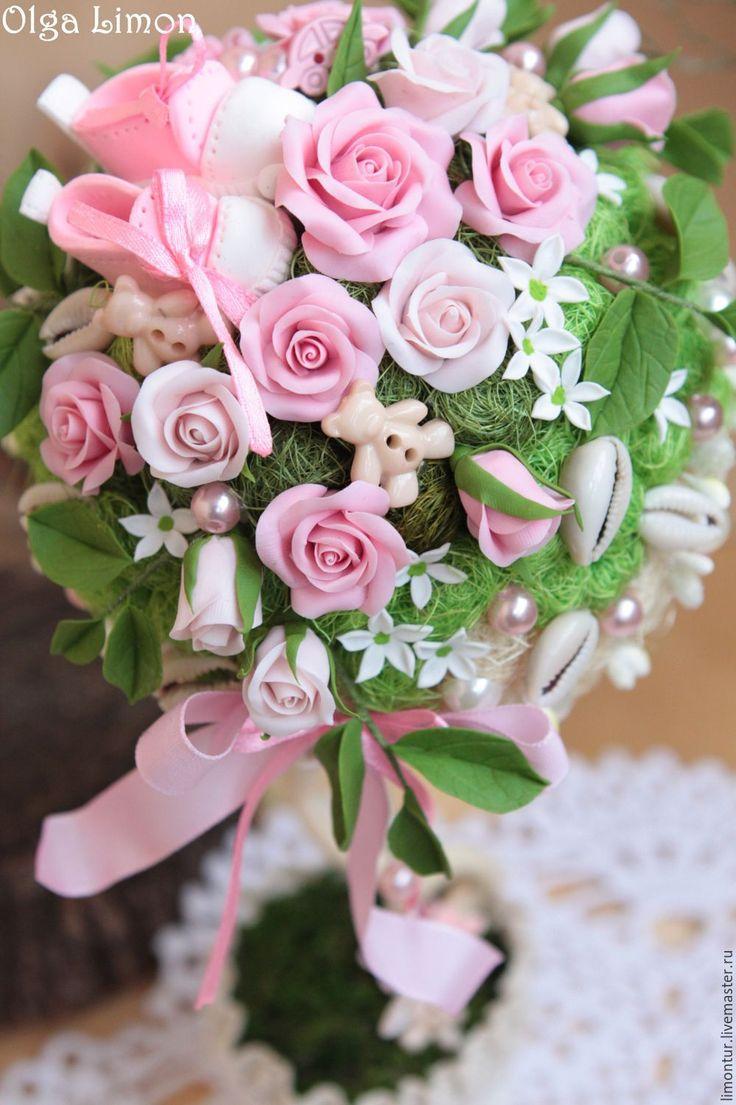 Купить Деревце по случаю рождения - розовый, розы, рождение девочки, рождение ребенка, подарок на рождение
