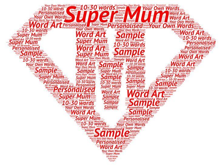 Super Mum Mom word art print Birthday Christmas Mother's Day Gift by SandraCraftyCardz on Etsy