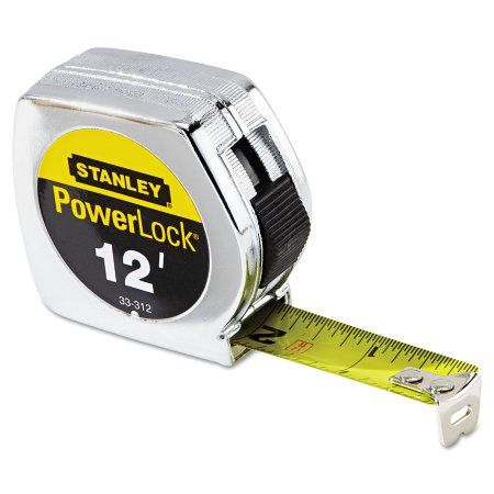 Stanley Tools Die Cast Tape Rule, 3/4 inch x 12ft, Metal Case, Yellow, 1/32 inch Graduation, Multicolor