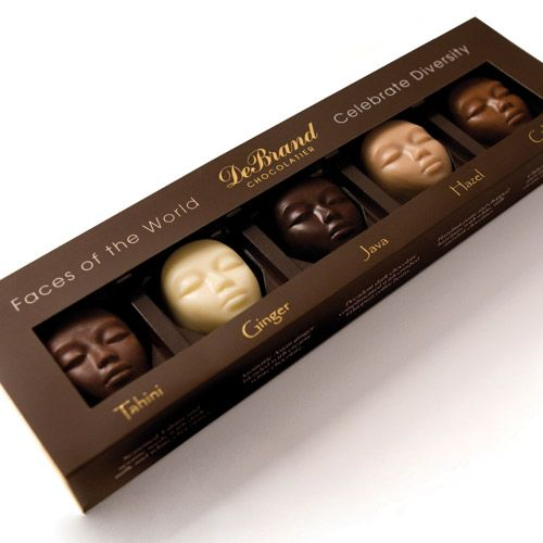"Creative Packaging Design – DeBrand Chocolate. ""Celebrate diversity"" is such a b…"