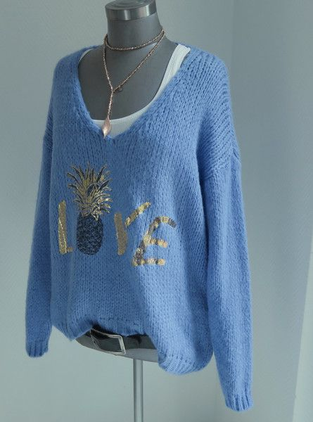 Pullover & Pullunder - XL OVERSIZE GROBSTRICK PULLI LOVE SCHRIFTZUG blau - ein Designerstück von secret-of-style bei DaWanda