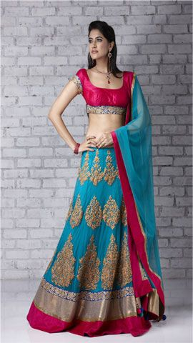 Red and blue lehenga
