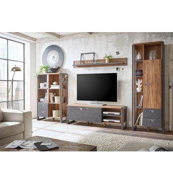 Home Affaire 4 Teilige Wohnwand Detroit Set 3 Im Angesagten Industrial
