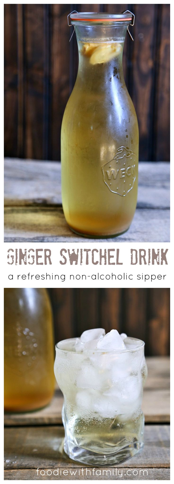 Ginger Switchel Drink made with water, honey, raw apple cider vinegar, and lots of ginger.