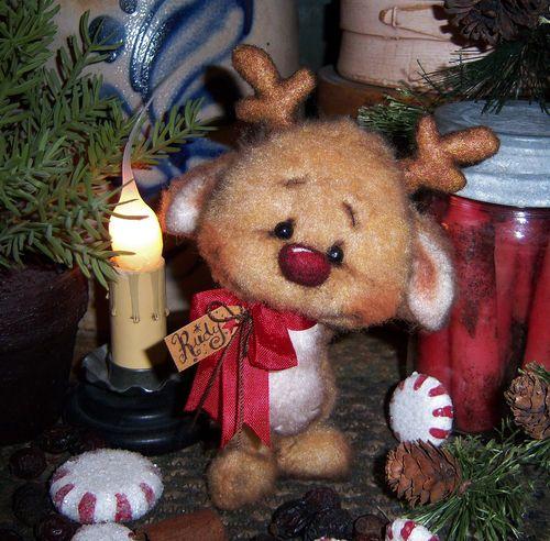 "Primitive Christmas Santa Deer Reindeer 5"" Bear Doll Vtg Patti's Ratties Rudolph For ordering information email me at pattisratties3d@yahoo.com"