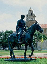 Will Rogers and his horse, Soapsuds on the campus of Texas Tech University