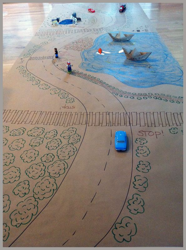 Great idea to use kraft paper to create a little road. Need to do this next time w/ niece & nephews.
