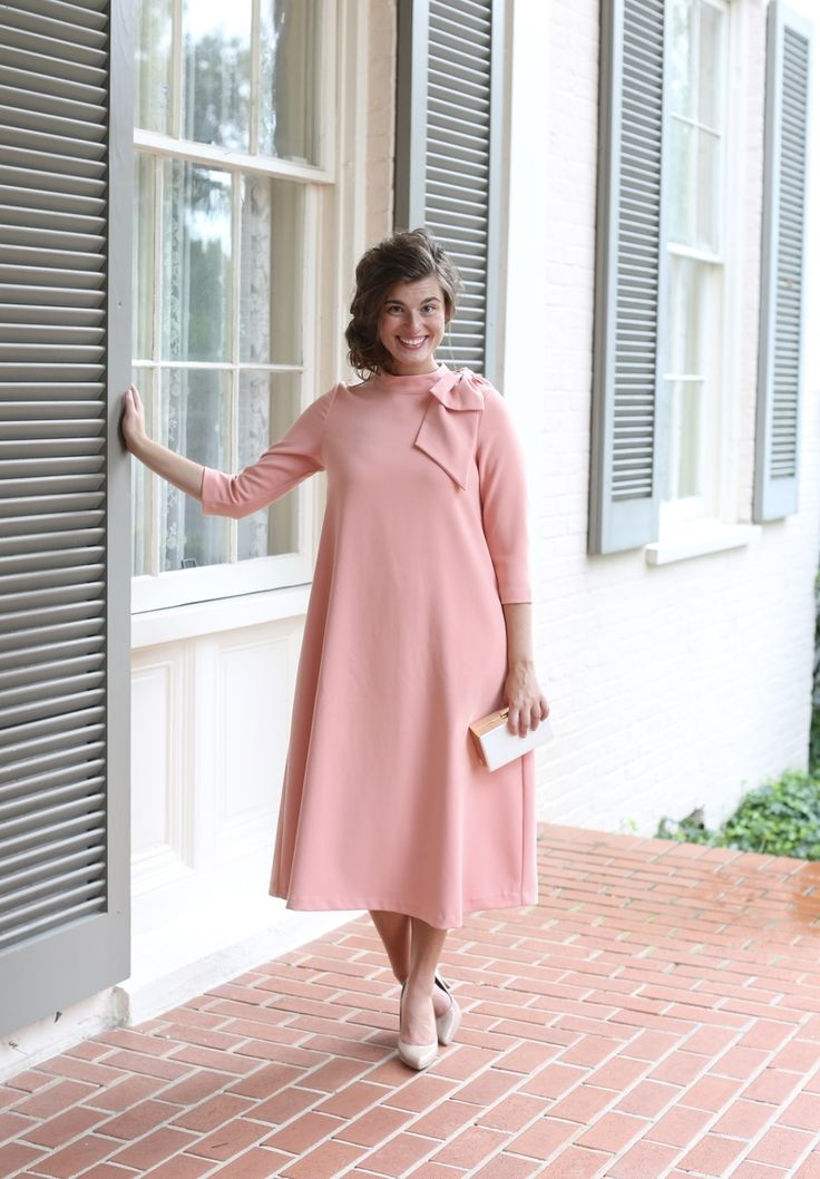 Modest Fashion | Modest Bridesmaid Dresses | Parisian Poise Dress in Peach | Dainty Jewell's Modest Apparel Spring 2017 Collection