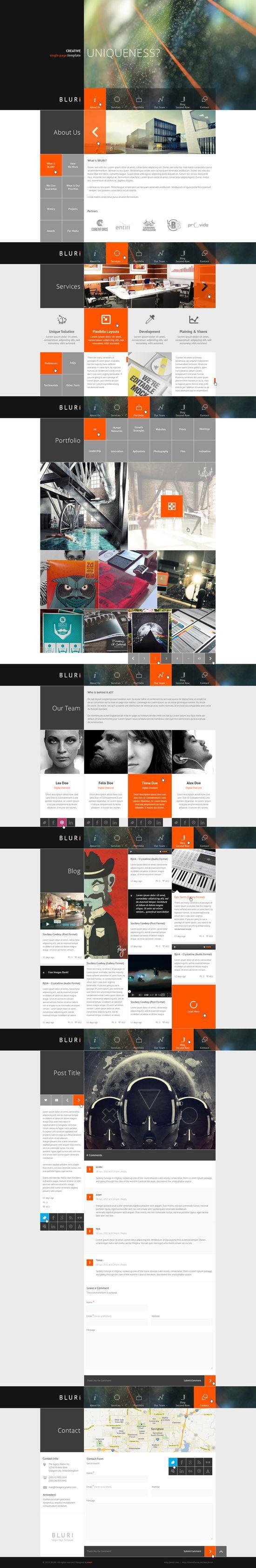 BLURI Single Page web | http://amazingwebdesignideas.blogspot.com