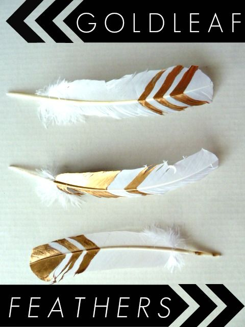 DIY Gold Leaf Feathers || Great idea for fall decor. Easy and stylish.: