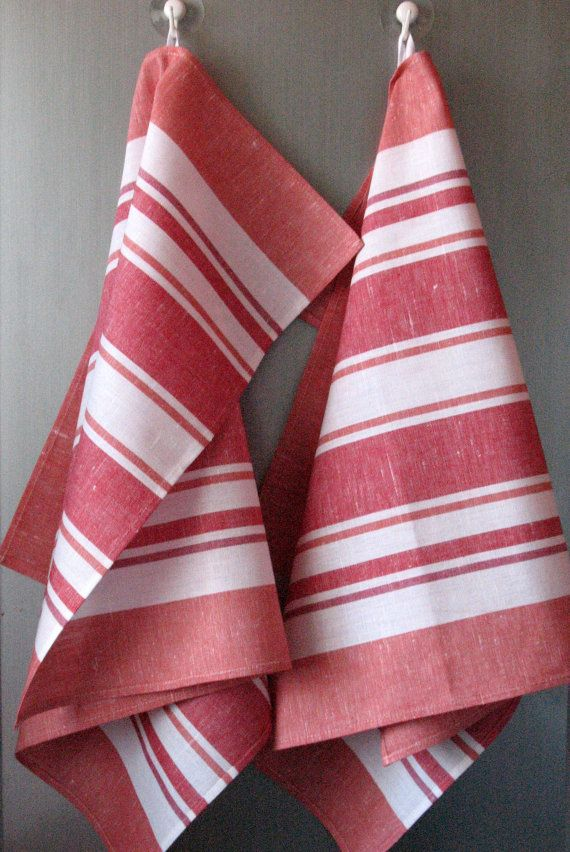 Attractive Linen Cotton Dish Towels Striped Red White Tea By Initasworks, $15.90