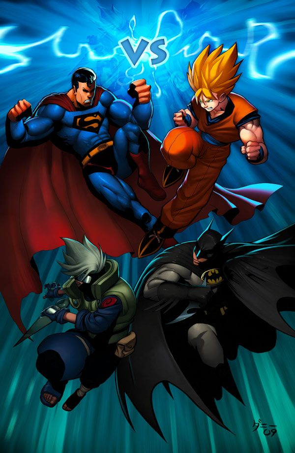 Superman and Kakashi VS Goku and Batman. I literally didn't know which board to put this in, but Kakashi and Goku won out for the anime board.