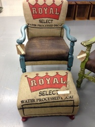 Burlap, coffee bags, tourchoise, oh my!  Up cycled chair from Out of the Grey Creations, a booth located at University Pickers in Huntsville, Alabama