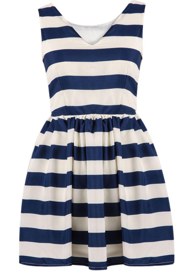 Blue White Striped V Neck Chiffon Dress 21.33