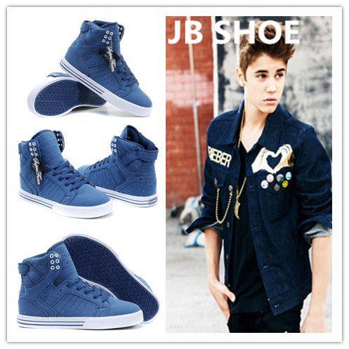 2015 flat blue New Justin bieber women Brand designer high top Fashion  sneakers shoes for women