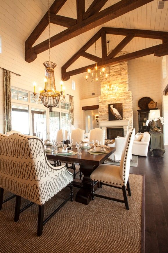 Southern Living - dining rooms - rustic wood beams, wood beams, kitchen