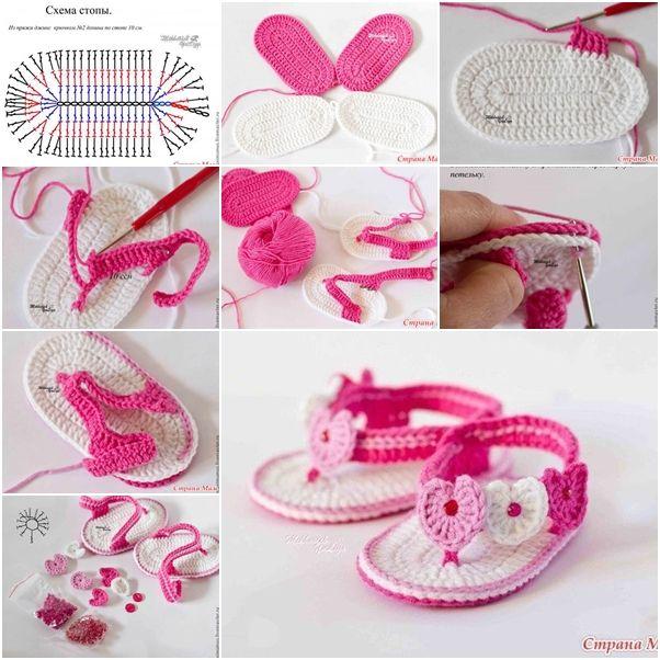 DIY Sweet Crochet Baby Summer Bootie with Heart