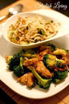 Scharfes Huhn mit Brokkoli und Erdnuss-Koriander-Nudeln Mehr