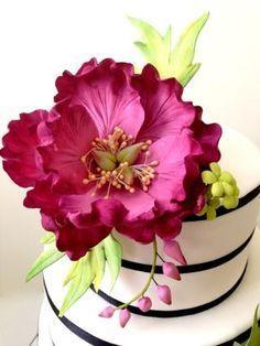 Fuschia themenorientierte Hochzeits-Kuchen mit Pfingstrosen sugarflower – Rezepte