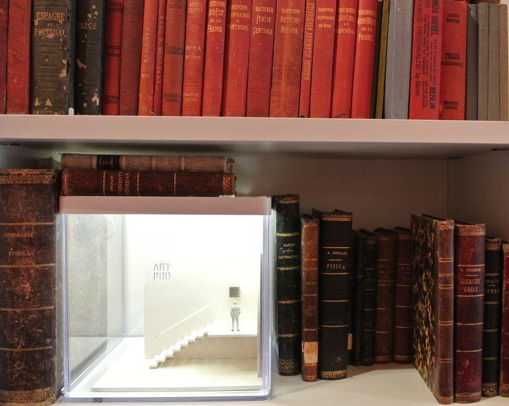 A BOMA Art Pod exhibition under an IKEA led box.  #bookshelfmuseum