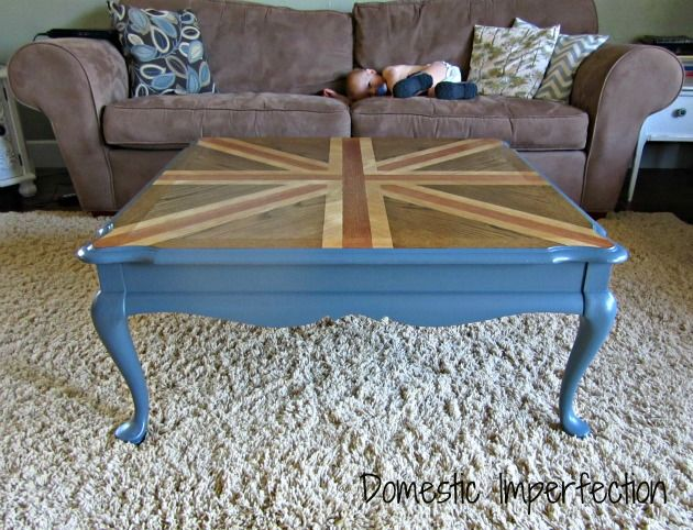 Stained Union Jack, Coffee Table, rehab antique coffee table, wood stain, paint, DIY