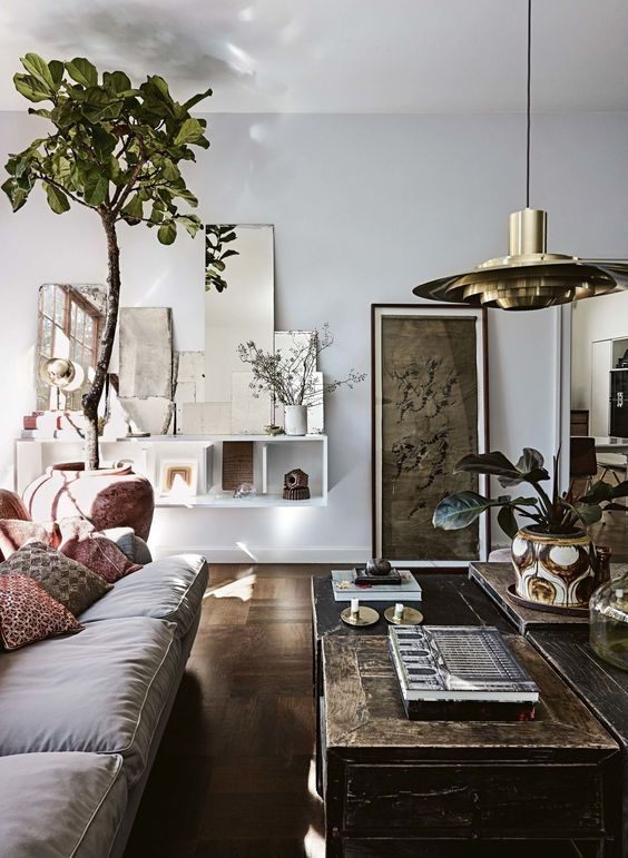 Modern Bohemian Style With Elegant Long Coffee Table Neutral Sofa And Wonderful Hanging Pendant
