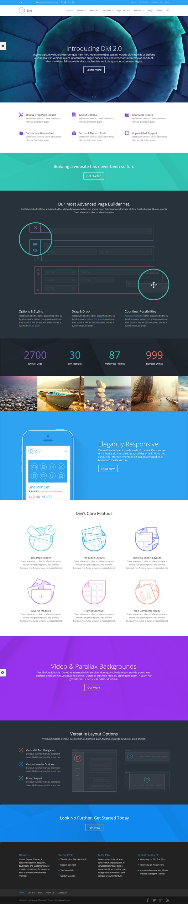 Divi WordPress Theme 2.0 via Behance #web #design