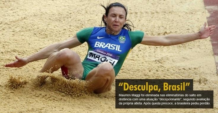 """Maurren Maggi foi eliminada nas eliminatórias do salto em distância com uma atuação """"decepcionante"""", segundo avaliação da própria atleta. Após queda precoce, a brasileira pediu perdão"""