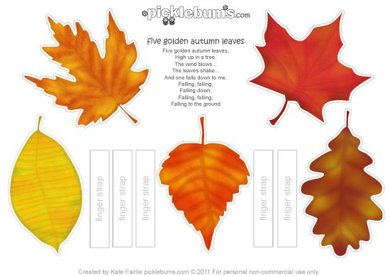 autumn-leaves printable and song http://picklebums.com/2012/05/17/printable-autumn-leaf-puppets-and-a-song/ #freebie #prek