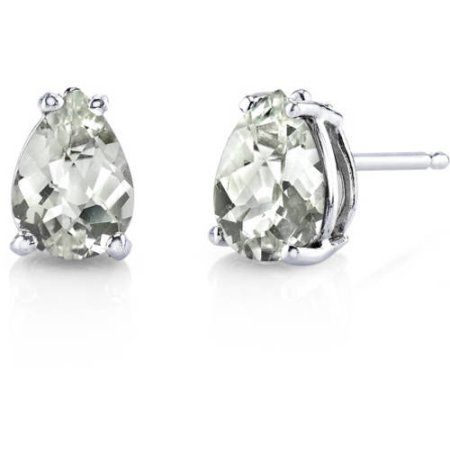 14 kt White Gold Round Cut 1.50 ct Green Amethyst Earrings