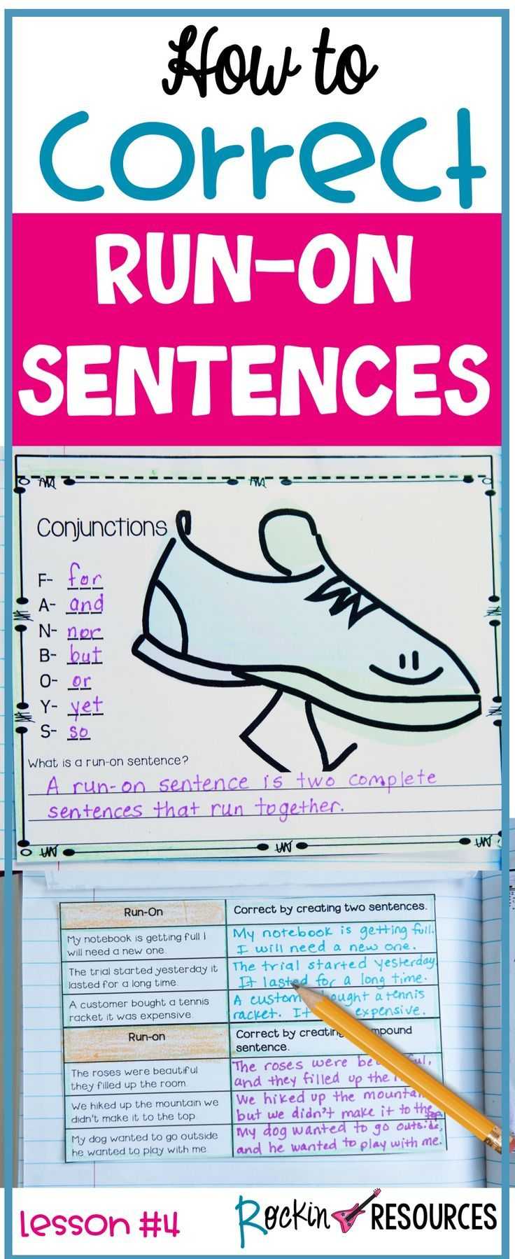 Are your students writing run-on sentences? This lesson will focus on how to correct them. These ideas are ideal for any writing curriculum and are a part of a series of mini lessons for writer's workshop designed for scaffolding through sentence structure, paragraph writing, and the writing process. Learn ways to help students properly write two complete sentences (independent clauses) in one sentence by using the correct punctuation and conjunctions. Find out how the acronym FANBOYS are…