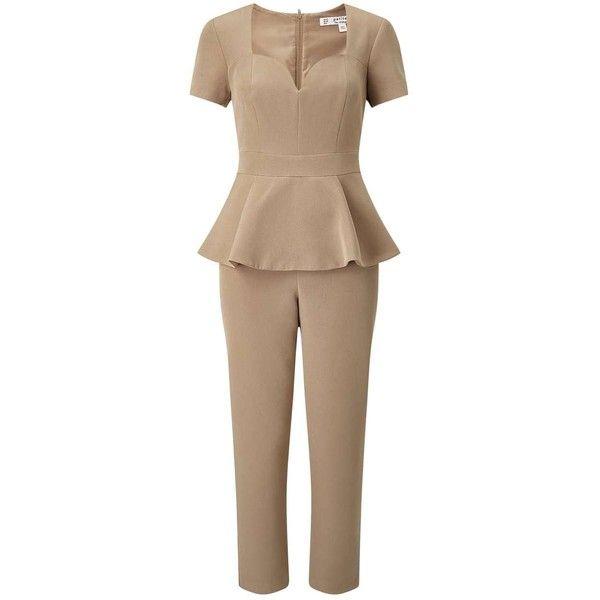 Miss Selfridge PETITE Camel Peplum Jumpsuit ($49) ❤ liked on Polyvore featuring jumpsuits, camel, petite, cap sleeve jumpsuit, miss selfridge, brown jumpsuit, peplum jumpsuit and miss selfridge jumpsuit