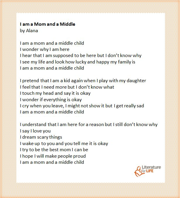 """""""I am a Mom and a Middle"""" by Alana, a reading circle participant"""