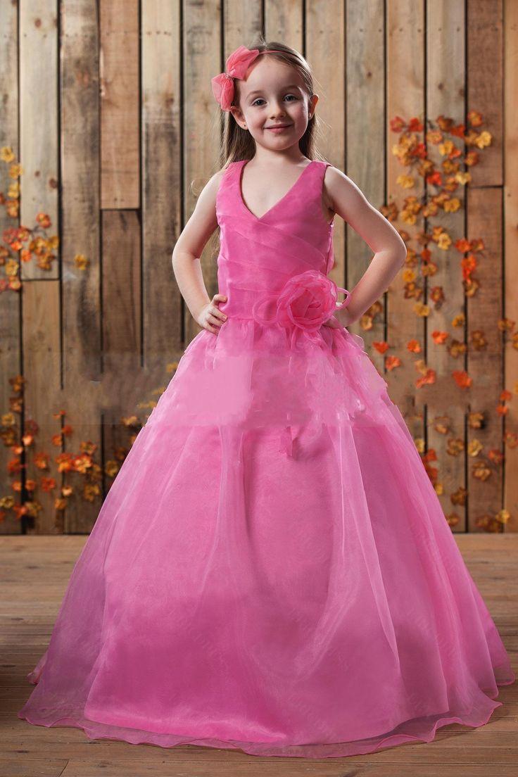 215 best flower girls dresses images on pinterest girls v neckline hot pink flower girl dress with ball gown ombrellifo Images