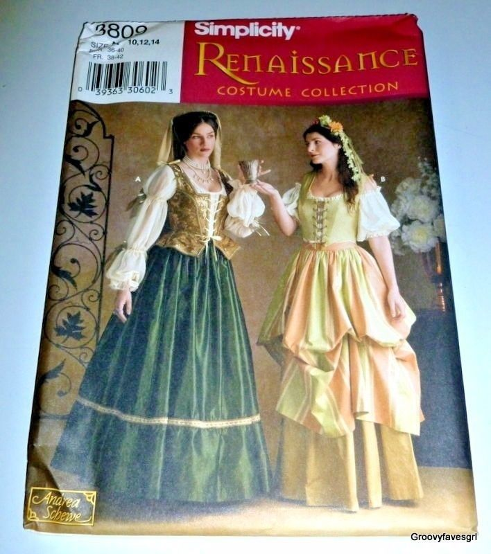 Medieval Renaissance Noble Peasant Dress Halloween Cosplay Costume Pattern  #SIMPLICITY