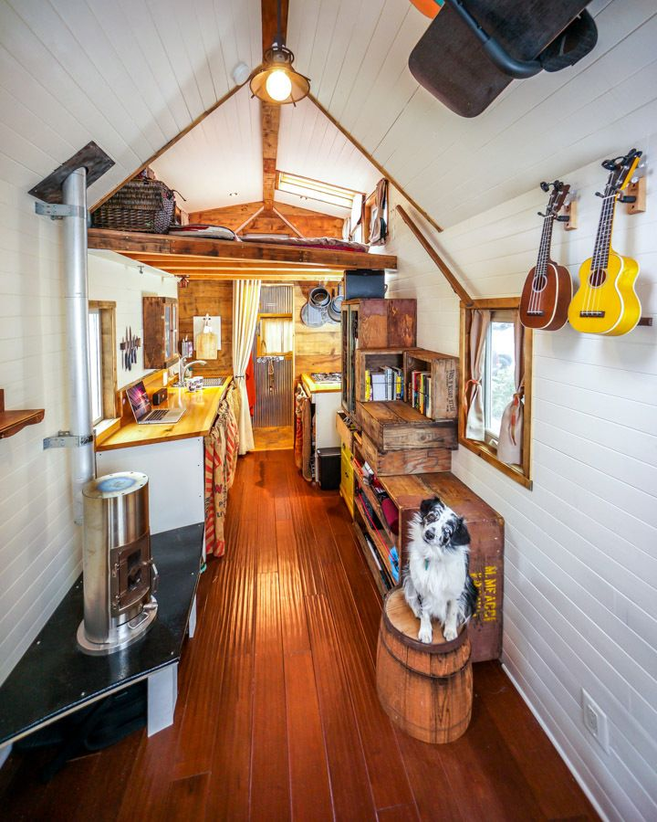 """When Guillaume Dutilh and Jenna Spesard quit their jobs two years ago, they decided to go big -- by going tiny.  The two built a 125-square-foot """"tiny house"""" (185 square feet if you count"""