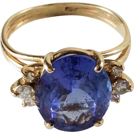 Tanzanite with Diamonds 14K Gold Ring 1960s Mid Century Vintage Jewelry SPRING SALE