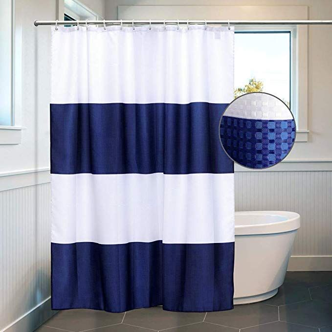 Amazon Com White And Navy Blue Shower Curtain Liner Waffle Waterproof Polyester Bathroom Curtains Blue Shower