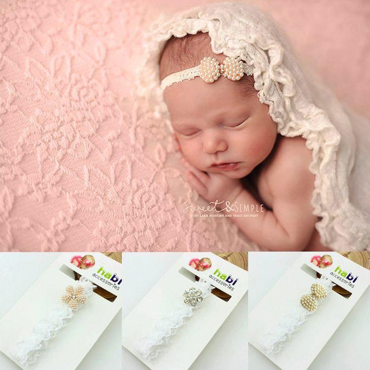 1piece new 2014 fashion born Infant Baby Princess Lace Rhinestone Newborn Baby Headband girls  Accessories