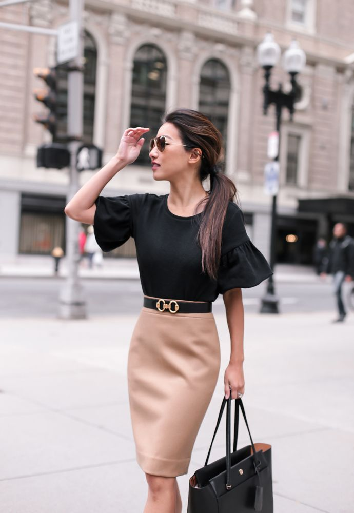 what to wear to work in the fall // black petites top + hermes belt + wool pencil skirt for a stylish office outfit