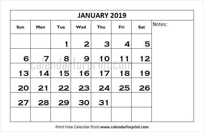 January Printable Calendar 2019 Word January 2019 Calendar