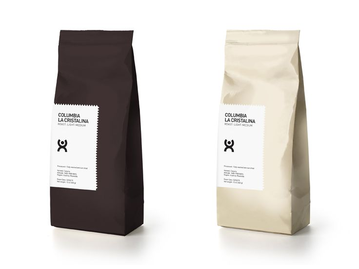 Minimalist label design for a new brand of coffee
