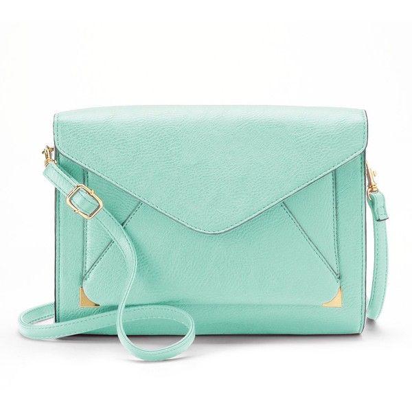 Apt. 9® Anna Crossbody Clutch ($18) ❤ liked on Polyvore featuring bags, handbags, clutches, purses, accessories, mint, green cross body purse, vegan handbags, green crossbody and green handbag