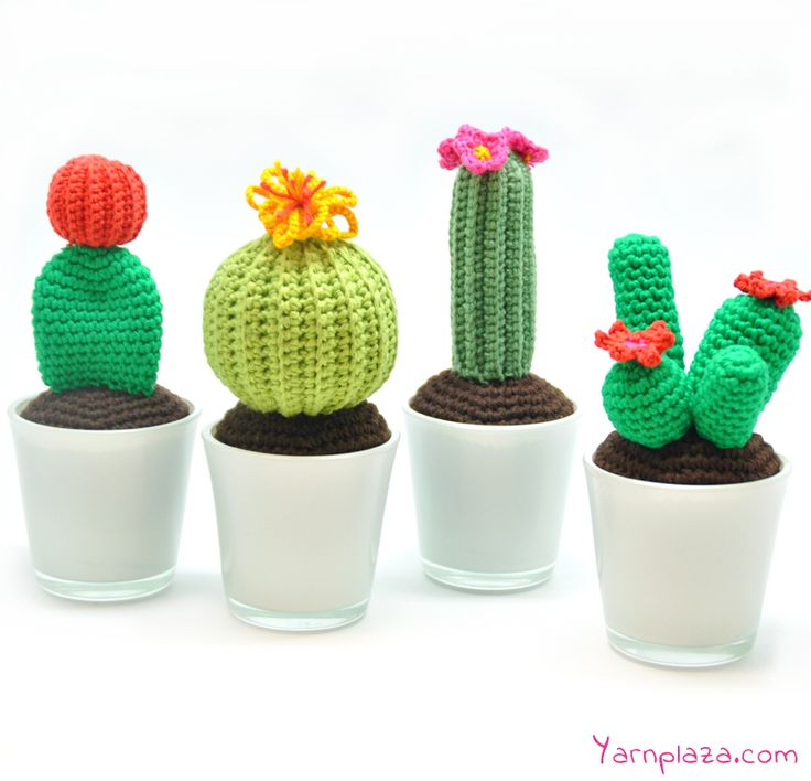 Crochet a cactus - Trend alert! This crocheted cacti are a must have in your designed interior. Look at our blog for the free patterns of 4 different cacti.: