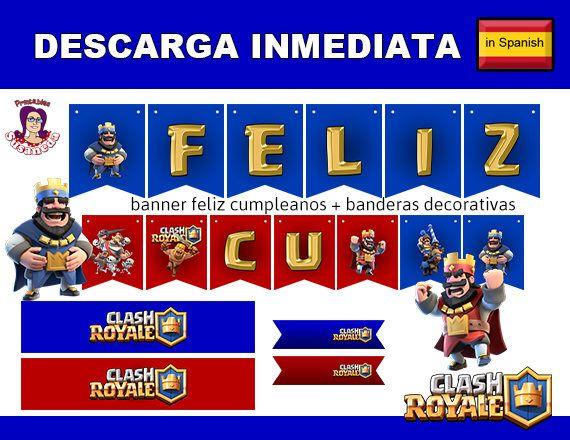 CLASH ROYALE kit de Fiesta en Español, Descarga Inmediata,  Decoración cumpleaños Clash Royale, Fiesta Clash Royale de SusanedaPrintables en Etsy