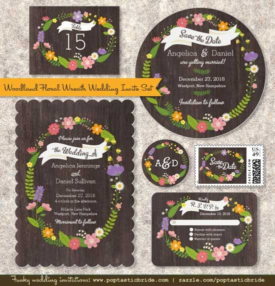 Awesome Whimsical Woodland Floral Wreath Wedding Invitations By Poptastic Bride  (click On The Image For More